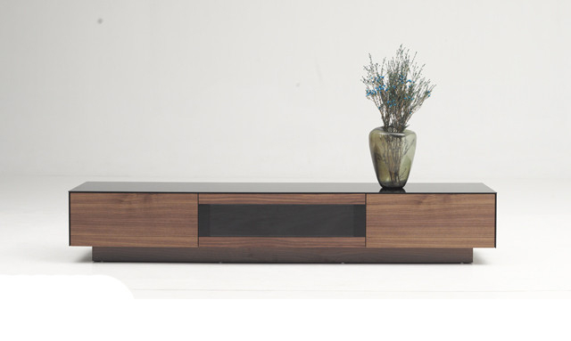 Favorite Modrest Darius Modern Walnut Tv Stand Pertaining To Walnut Tv Cabinets With Doors (View 3 of 20)