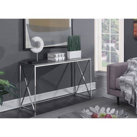 Favorite Parsons Grey Solid Surface Top & Stainless Steel Base 48X16 Console Tables Inside Convenience Concepts Belaire Console Table, Silver (View 6 of 20)