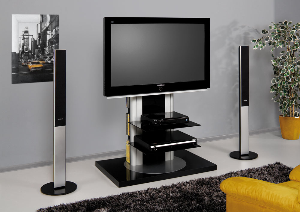 Favorite Roma Black Swivel High Gloss Tv Stand (View 19 of 20)