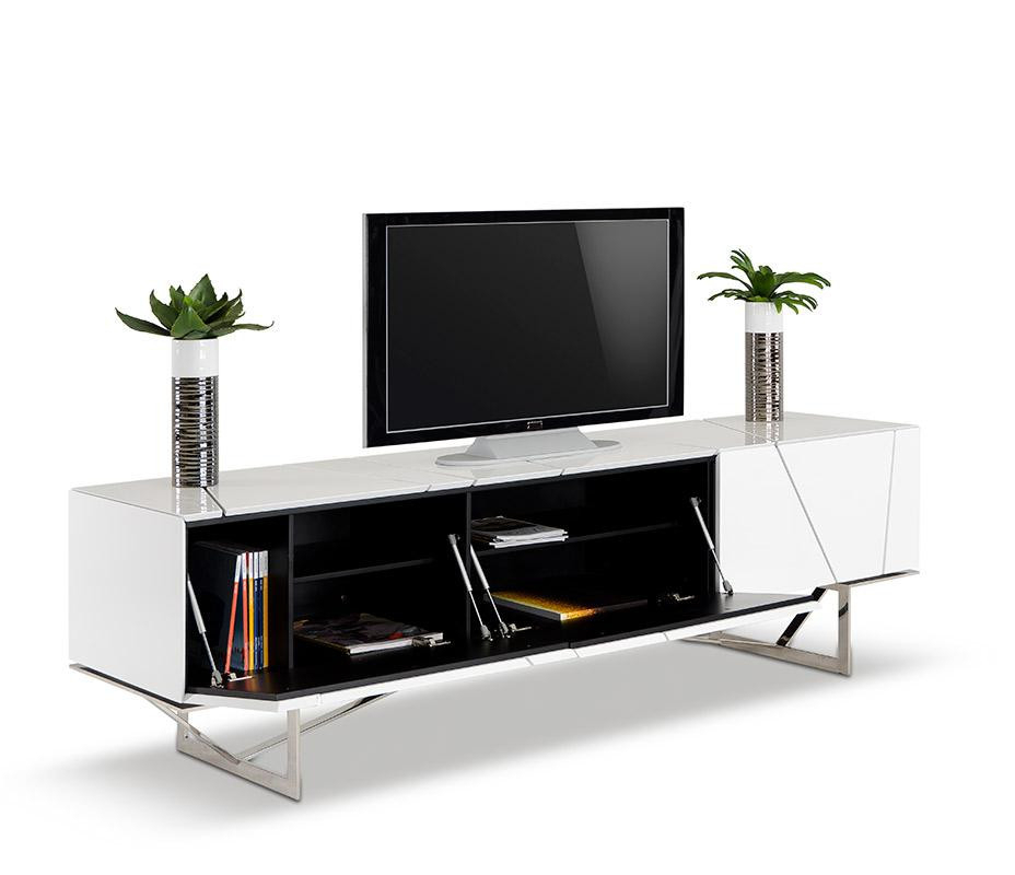 Favorite Rostock Modern White Tv Stand Inside Modern White Tv Stands (View 15 of 20)
