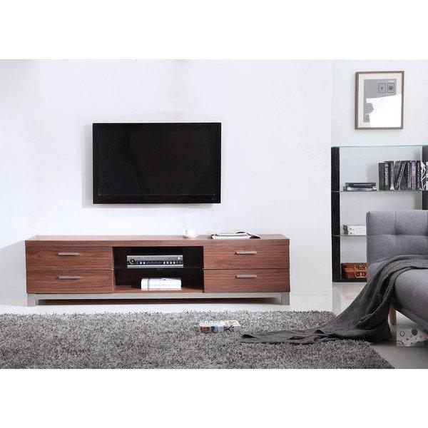 Favorite Shop Natasha Light Walnut/ Stainless Steel Modern Tv Stand – Free Within Modern Walnut Tv Stands (View 4 of 20)