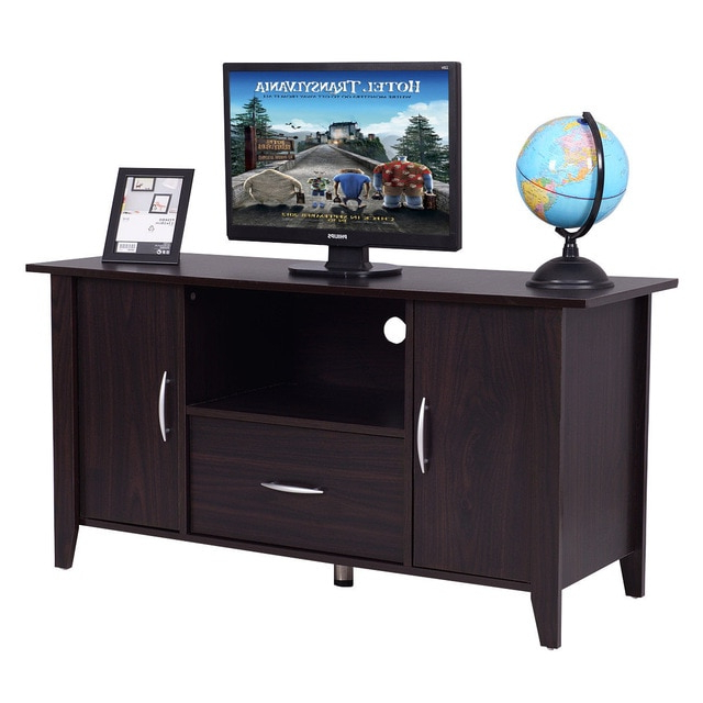 Favorite Tv Cabinets With Storage Regarding Giantex Modern Living Room Tv Cabinet Media Unit Storage Shelf Tv (View 4 of 20)