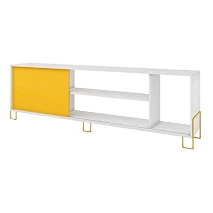 "Favorite Yellow Tv Stands Pertaining To Amazon: Bowery Hill 71"" Tv Stand In White And Yellow: Kitchen (View 5 of 20)"