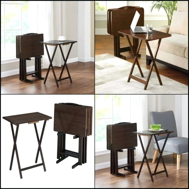 Folding Wooden Tv Tray Home 5 Piece Tray Table Set Folding Wood Game Within Most Recently Released Folding Wooden Tv Tray Tables (View 17 of 20)