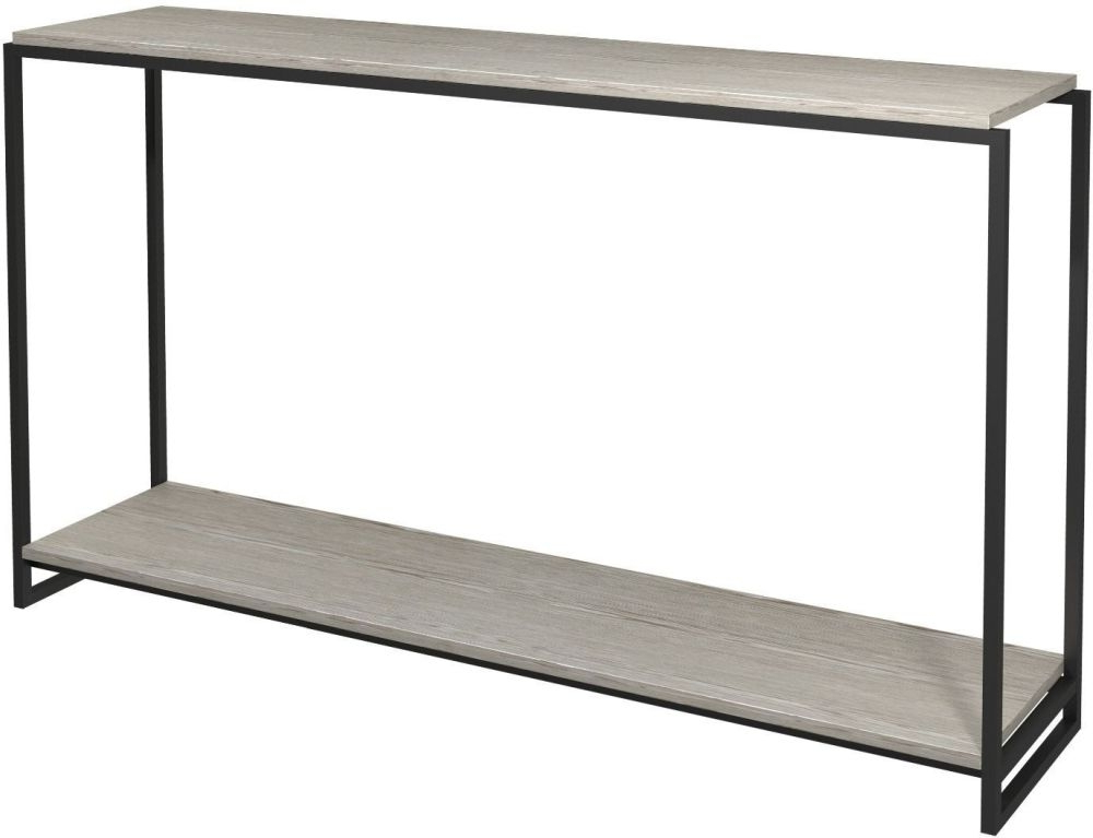 Frame Console Tables With 2017 Regents Weathered Oak Narrow Console Table With Black Metal Frame (View 9 of 20)