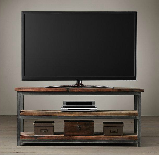 French Country Tv Cabinets Throughout Well Known Loft Iron Wood Wind Industry Mash Continental Shelf Tv Cabinet (View 11 of 20)