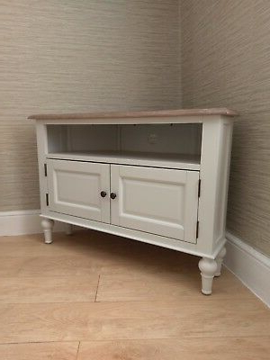 French Country White Corner Tv Unit Cabinet / Stand 100Cm – Painted Within Preferred Shabby Chic Corner Tv Unit (Gallery 16 of 20)