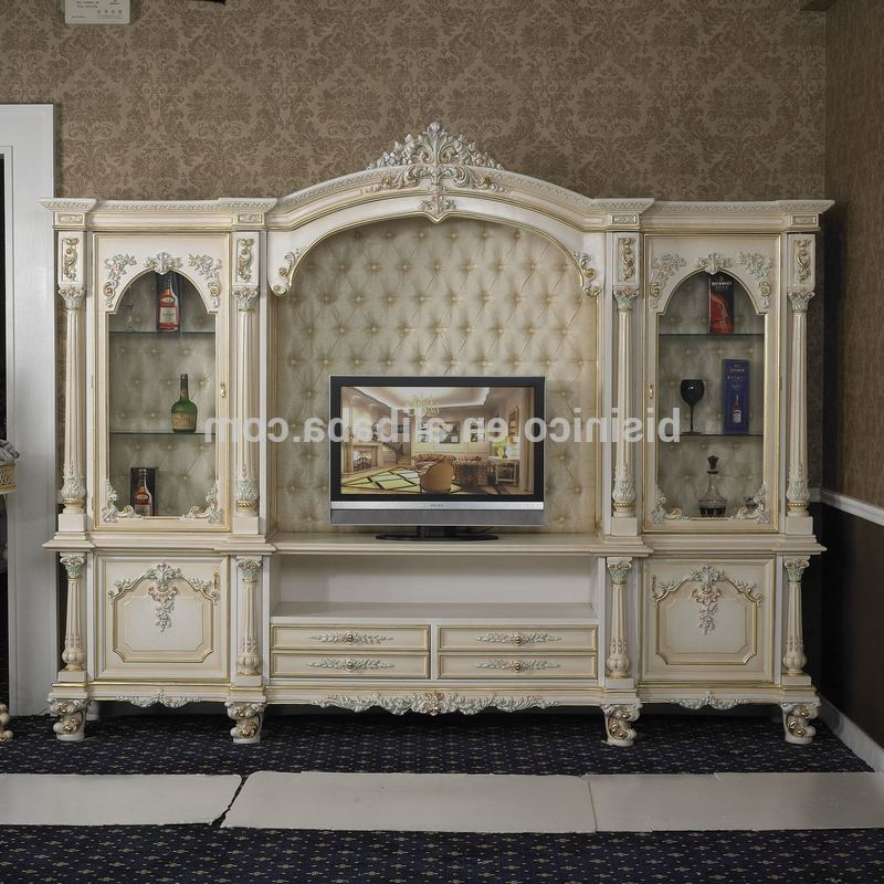 French Style Tv Cabinets Intended For Most Up To Date Italy Style European Classical White And Gold Colour Wooden Tv Stand (View 10 of 20)