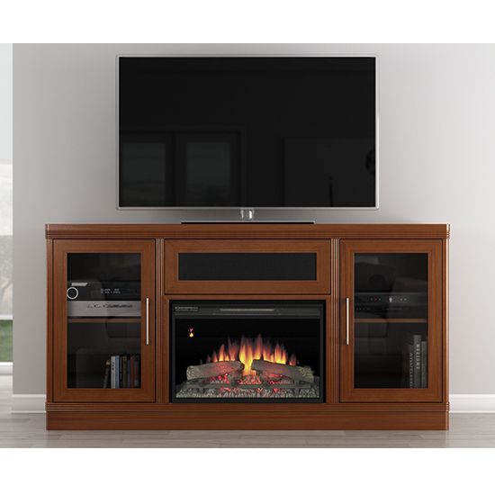 Furnitech Ft70Trfb Transitional Tv Stand Console With Electric Throughout Most Up To Date Light Cherry Tv Stands (View 7 of 20)