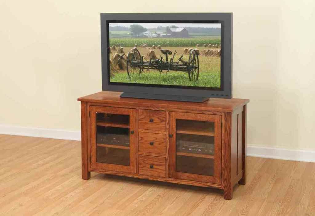 Furniture: Cool Walnut Finish Cheap Wood Tv Stand Featuring Double For Well Known Wooden Tv Cabinets With Glass Doors (View 3 of 20)