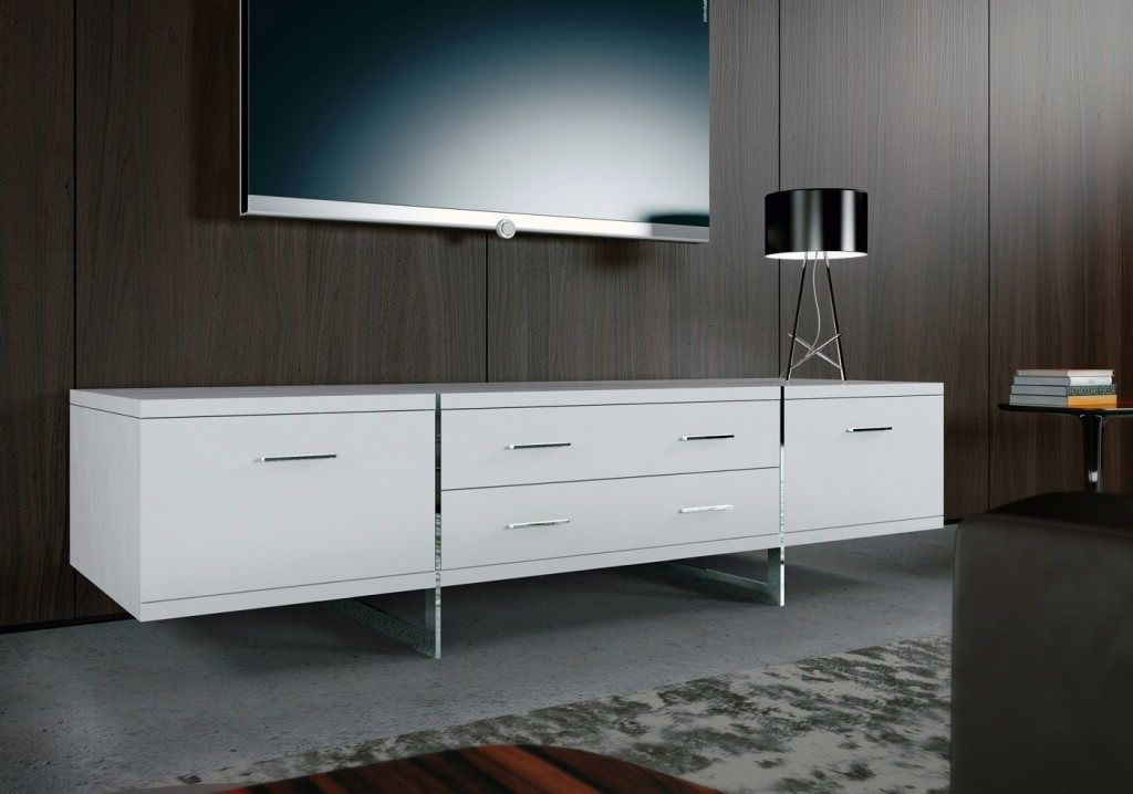 Furniture: Enchanting White Contemporary Modern Tv Stands Featuring For Popular Contemporary White Tv Stands (View 11 of 20)