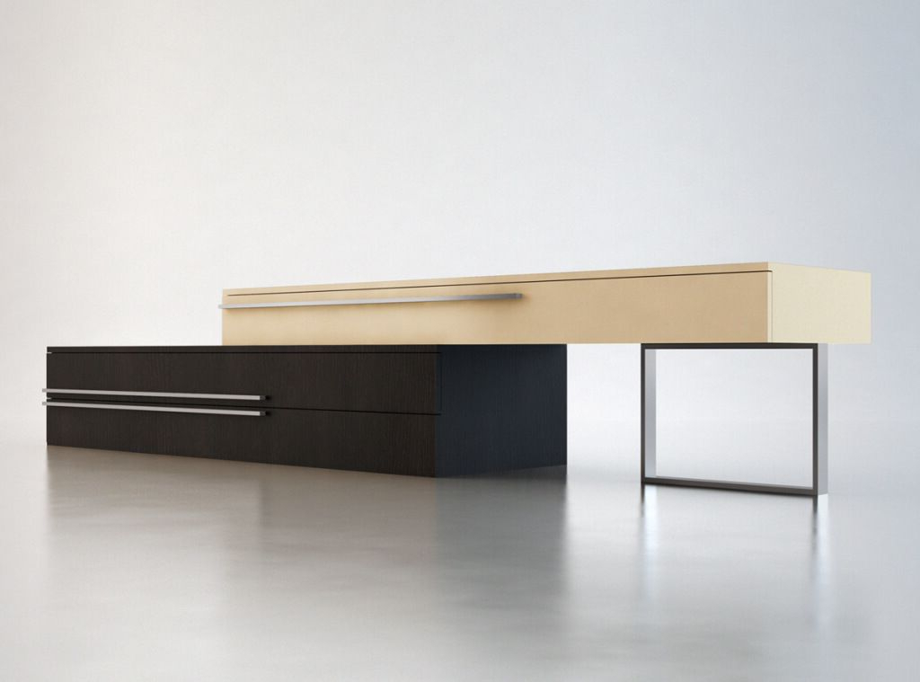 Furniture: Remarkable Two Toned Contemporary Style Tv Stand Intended For Popular Sleek Tv Stands (View 16 of 20)