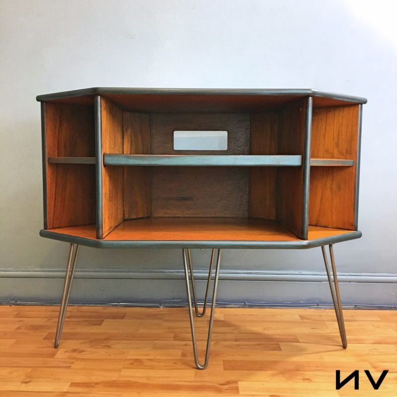 G Plan Teak Retro Corner Tv Stand / Entertainment Cabinet Upcycled For 2018 Retro Corner Tv Stands (Gallery 3 of 20)