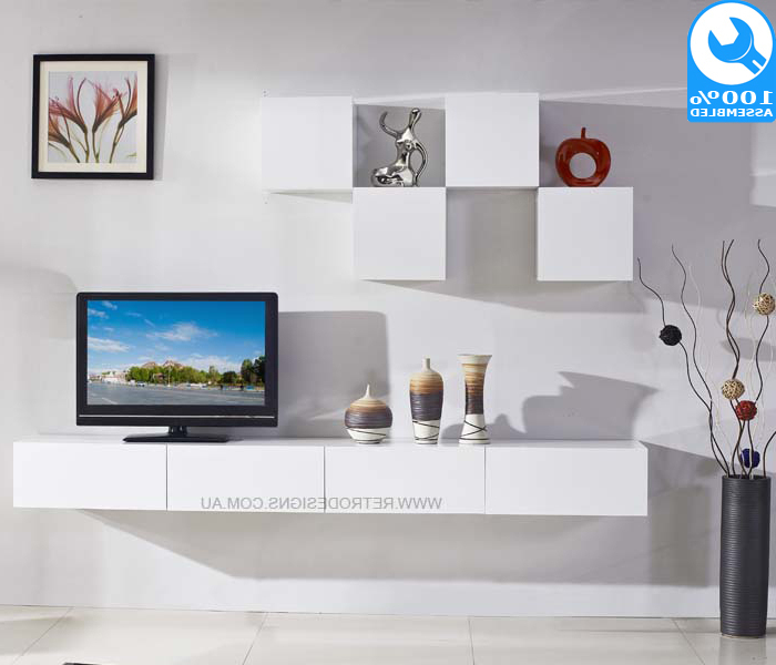 Galaxi White Wall Mounted Tv Cabinet Inside Most Up To Date White Wall Mounted Tv Stands (View 5 of 20)