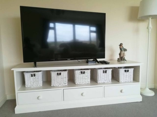 Gillerson Pine Made To Measure Ivory 3 Drawer Long Tv Cabinet – Tv For Well Liked Long Tv Cabinets Furniture (Gallery 17 of 20)