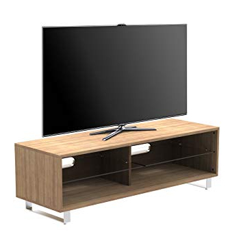 "Glass And Oak Tv Stands With Regard To Newest 1Home Tv Stand Cabinet Gloss Shelf Glass Upto 60"" Flat: Amazon.co (View 8 of 20)"