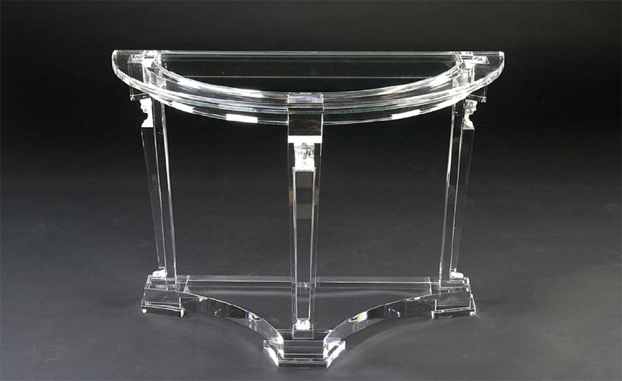 Glass Demilune Console Table — Jherievans Throughout Well Known Clairemont Demilune Console Tables (Gallery 9 of 20)