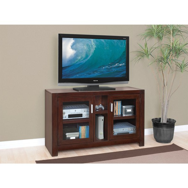 Glass Front Tv Stands In Recent Shop Camus Brown Wood 2 Shelf Mid Sized Tv Stand With Glass Front (View 11 of 20)