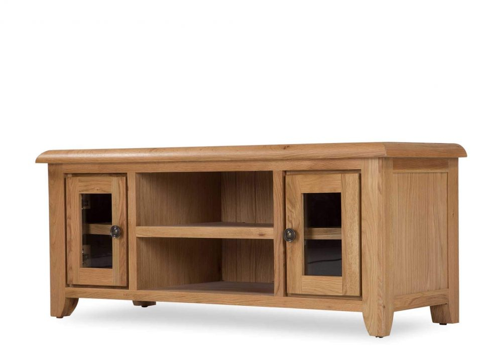Glass Fronted Tv Cabinet Intended For Most Recently Released Solid Oak Tv Unit – Cashel – Ez Living Furniture (Gallery 13 of 20)