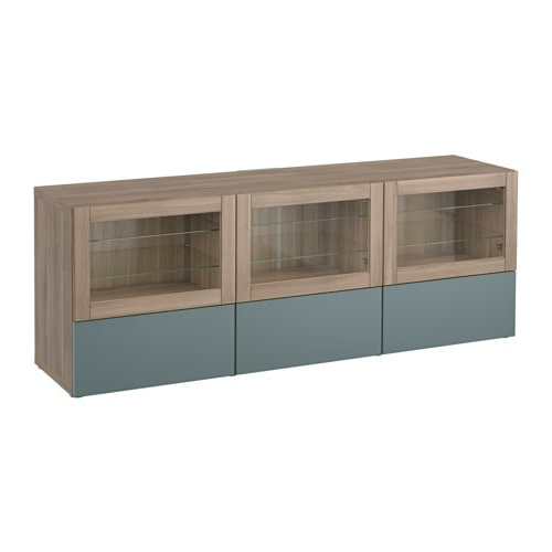 Glass Tv Cabinets With Doors Throughout Preferred Bestå Tv Unit With Doors And Drawers – Walnut Effect Light Gray (View 6 of 20)