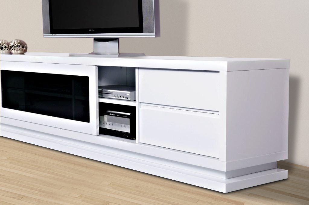 Gloss White Tv Cabinets Pertaining To Most Popular Gloss White Tv Unit 2.4M, The Preston – First In Furniture (Gallery 14 of 20)