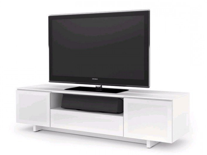 Gloss White Tv Cabinets Within Most Up To Date Bdi Nora 8239 Gloss White Tv Cabinet (View 7 of 20)