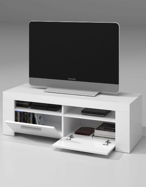 Gloss White Tv Cabinets Within Trendy Cubo White Gloss Tv Cabinet Entertainment Unit (View 9 of 20)
