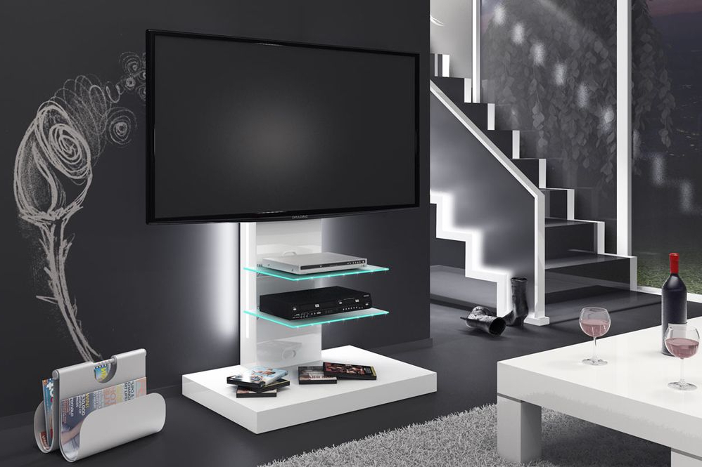 Gloss White Tv Stands Inside Fashionable Marino White Tv Stand (View 3 of 20)