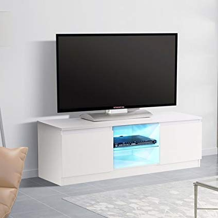 "Gloss White Tv Stands Throughout Popular Amazon: Mecor Tv Stand With Led Lights,47"" High Gloss White Tv (View 2 of 20)"