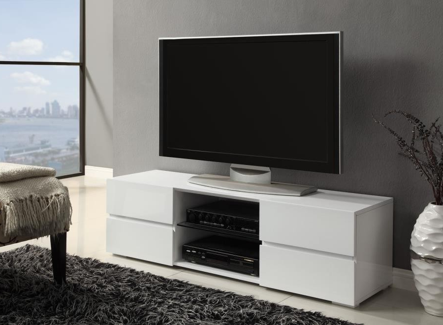 Glossy White Tv Stands Throughout Recent Living Room : Tv Consoles – Contemporary Glossy White Tv Console (View 11 of 20)