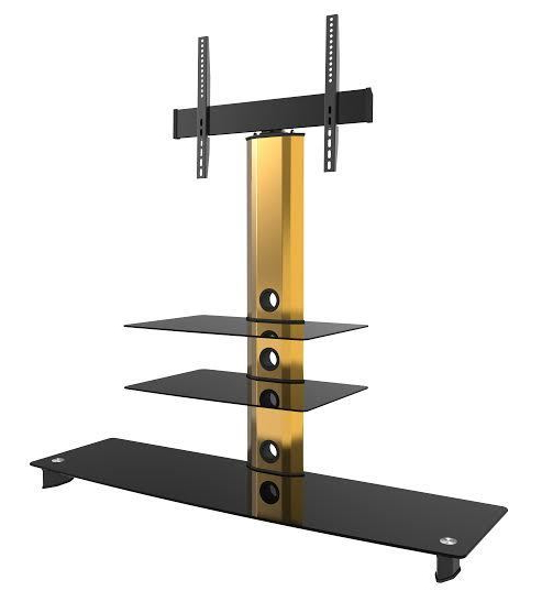 Gold Black Glass Tv Stand Bracket Cantilever 3 Black Shelves Pertaining To Most Current Tv Stands With Bracket (View 20 of 20)