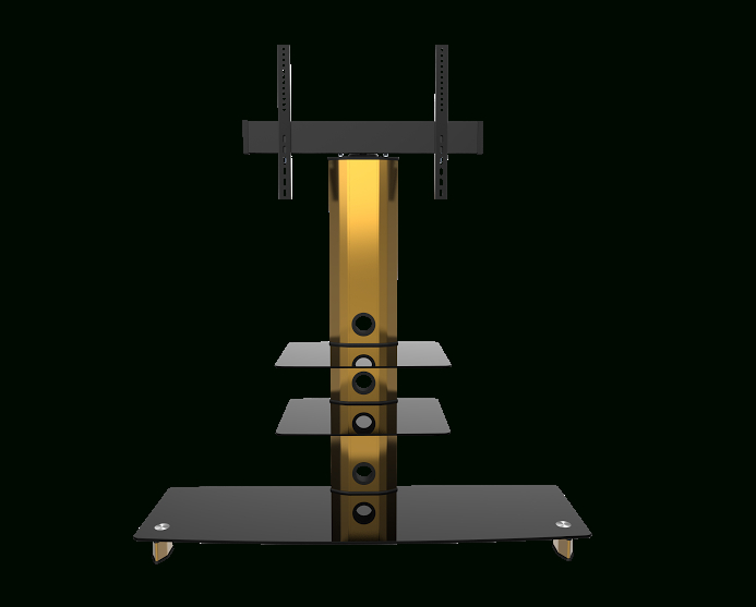 Gold Black Glass Tv Stand Bracket Cantilever 3 Black Shelves With Regard To Latest Tv Stands With Bracket (View 18 of 20)