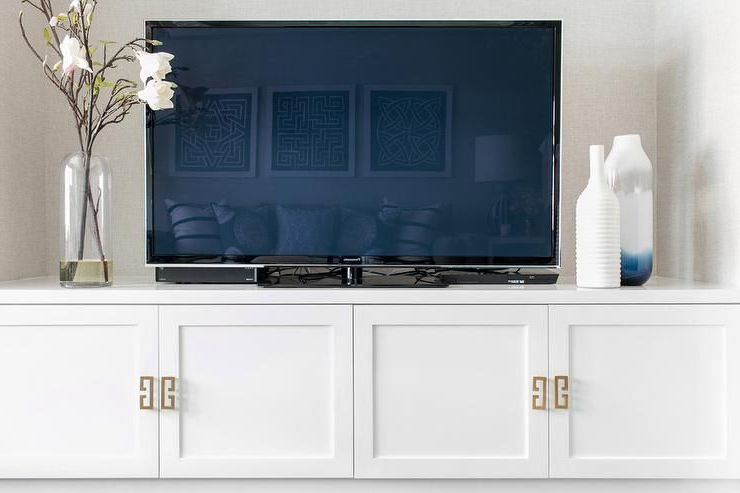 Gold Greek Key Hardware On A Low, White Tv Cabinet Finished With Regarding 2018 Gold Tv Cabinets (Gallery 4 of 20)