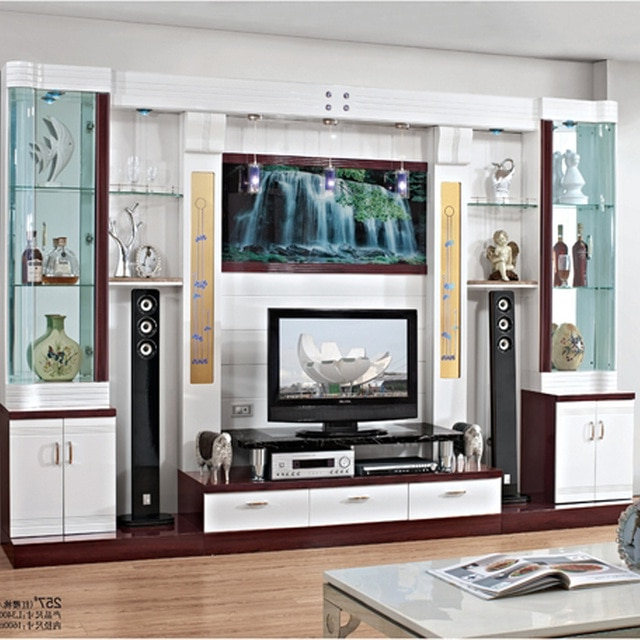 Gray Mirror Glass Wall Tv Cabinet Coffee Table Combination Set Wine Throughout Most Popular Wall Display Units And Tv Cabinets (View 4 of 20)