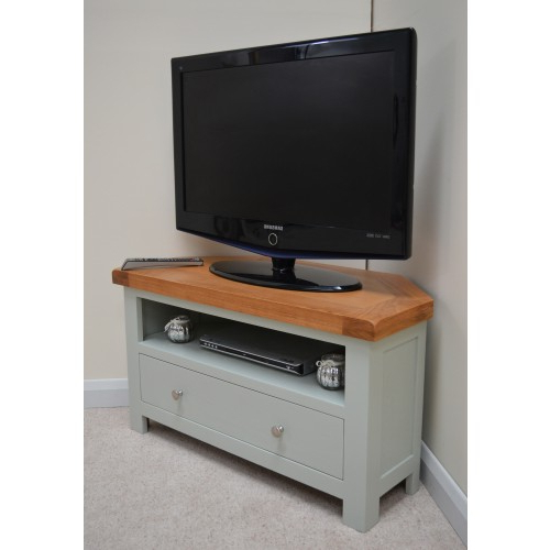 Green Tv Stands Intended For Well Known Camborne Sea Green Oak Corner Tv Stand / Entertainment Unit (View 9 of 20)