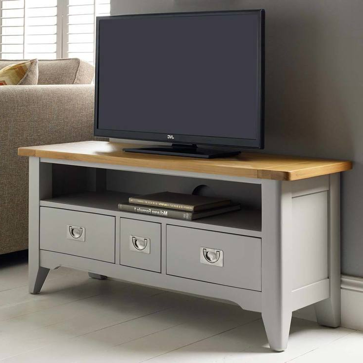 "Grey Tv Stands Intended For Trendy Bordeaux Painted Light Grey Tv Stand For Tvs Up To 49"" (View 5 of 20)"