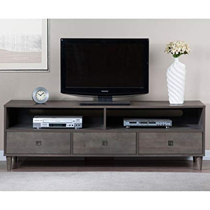 Grey Wood Tv Stands Throughout Preferred Amazon: Modhaus Living Mid Century Modern Gray Wood Tv Stand (View 12 of 20)