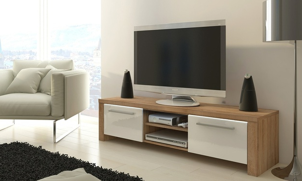 Groupon Goods Regarding Current Walnut And Black Gloss Tv Units (View 3 of 20)