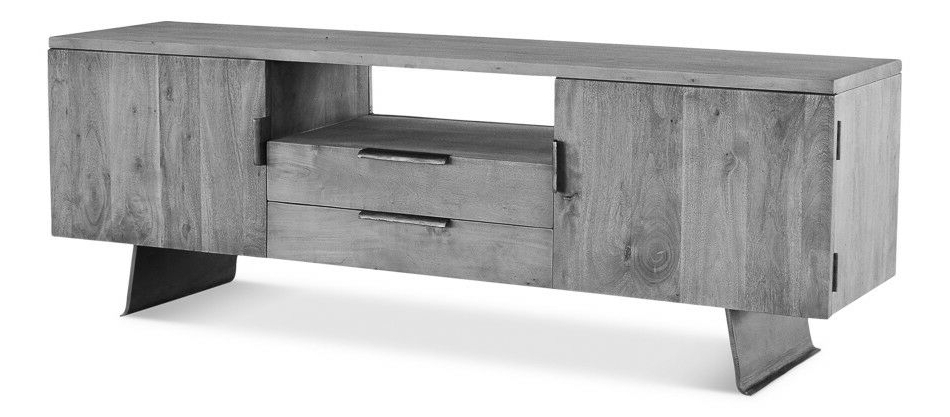 "Gunmetal Media Console Tables In Famous 71"" Tv Media Console Acacia Wood Steel Brass Grey Stone Oiled (Gallery 20 of 20)"