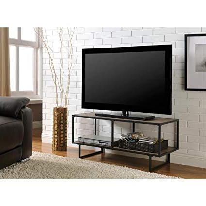 Gunmetal Media Console Tables Inside Well Known Amazon: Metro Shop Emmett Gunmetal Grey Tv Stand Sonoma Oak (View 4 of 20)