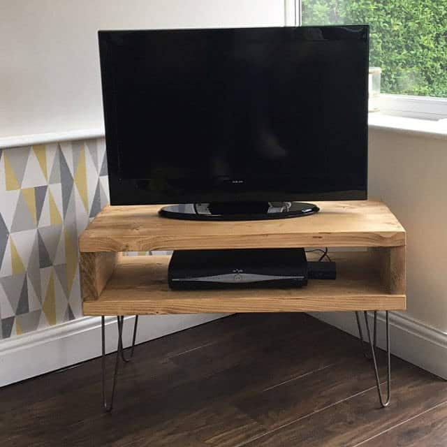 Hairpin Leg Tv Stands For Most Up To Date Solid Pine Box Tv Stand With Hairpin Legs – Newco Interiors (Gallery 2 of 20)