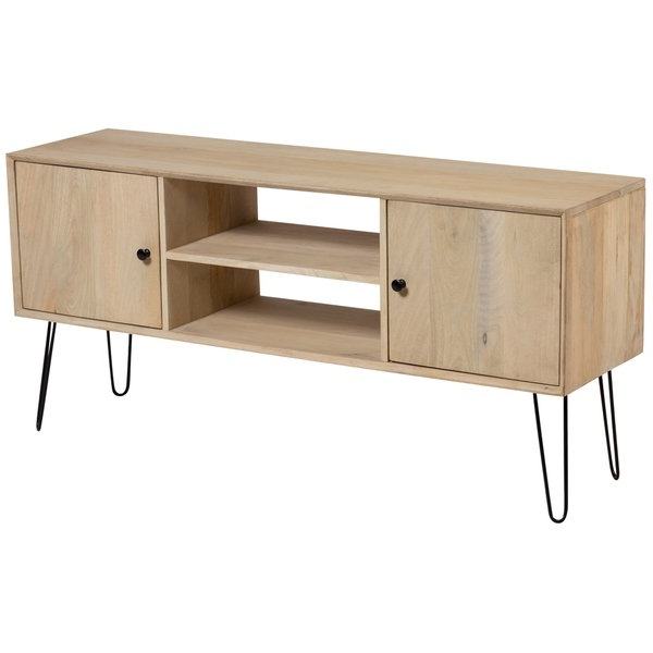 Hairpin Leg Tv Stands Pertaining To Widely Used Shop Wanderloot Graphik Contemporary Solid Mango Wood Metal Hairpin (Gallery 15 of 20)