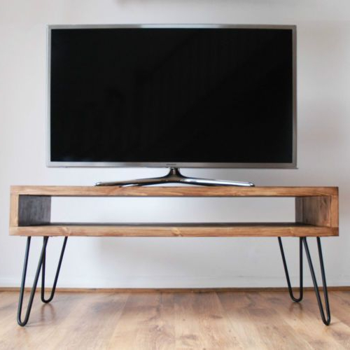 Hairpin Leg Tv Stands With Regard To 2018 Vintage Retro Box Tv Stand W/ Metal Hairpin Legs Solid Wood, Rustic (Gallery 11 of 20)
