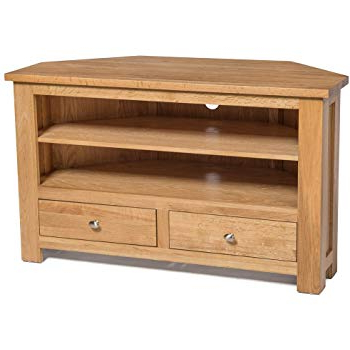 Hallowood Waverly 2 Corner Tv Stand In Light Oak Finish (View 2 of 20)