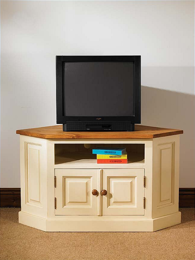 Hampton Cream Painted Pine Furniture Corner Television Cabinet Stand Inside Favorite Cream Corner Tv Stands (View 10 of 20)