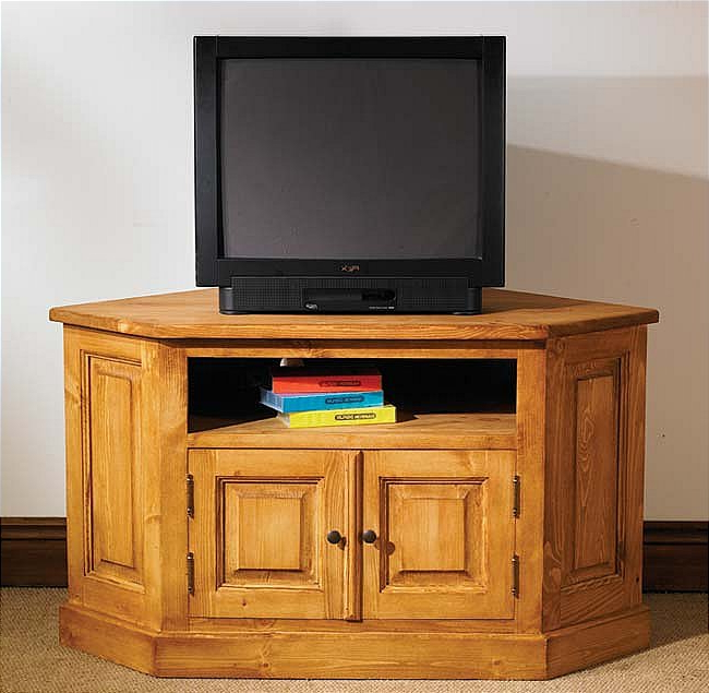 Hampton Waxed Pine Furniture Corner Television Cabinet Stand Unit (View 10 of 20)
