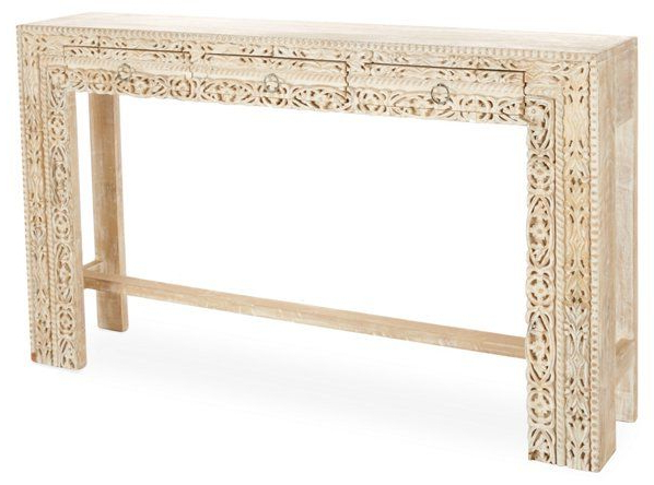 Hand Carved White Wash Console Tables Inside Fashionable Violet Hand Carved Console – Whitewash (View 6 of 20)