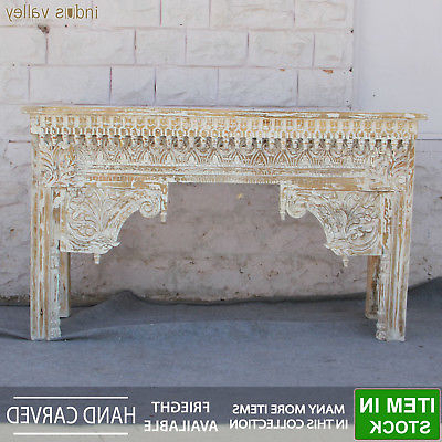 Hand Carved White Wash Console Tables Inside Most Recent Antique Hand Carved Solid Wood Console Table Hall Side Table (Gallery 8 of 20)