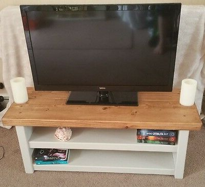 Hand Made Rustic Chunky Solid Wood Tv Unit Oak Effect Top – £110.00 Within Well Known Chunky Wood Tv Units (Gallery 15 of 20)