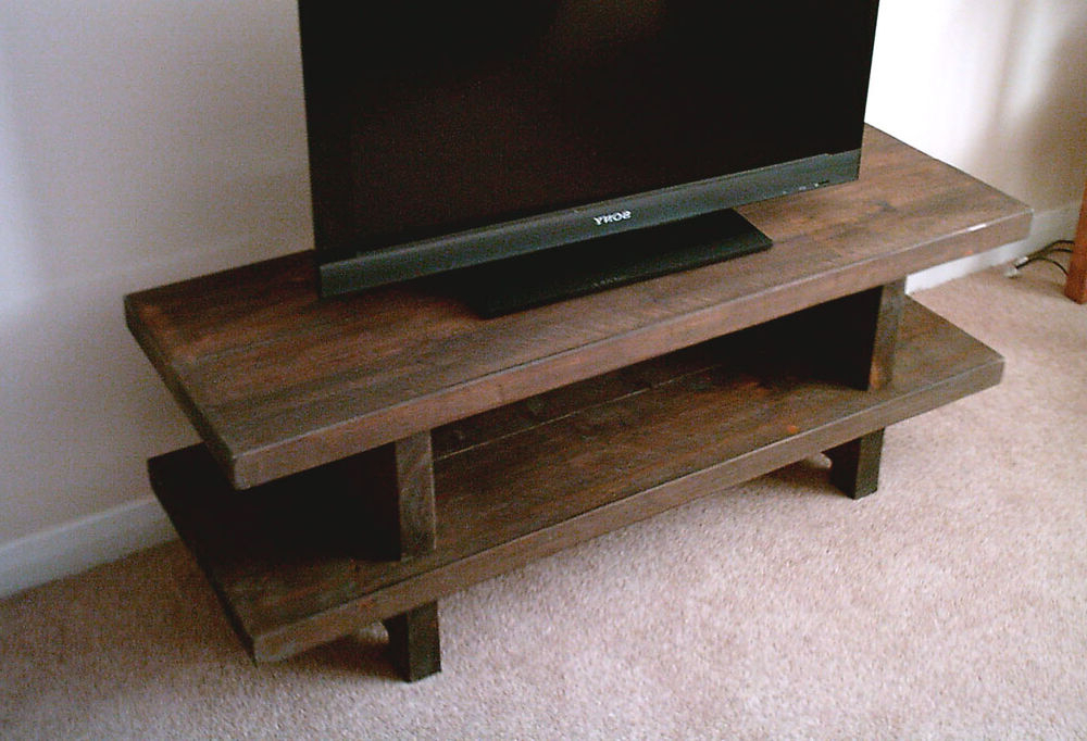 Hand Made Rustic Widescreen Tv Stand – Solid Wood Stained In In Trendy Widescreen Tv Stands (View 8 of 20)